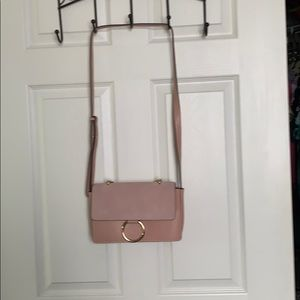 Crossbody suede and leather purse
